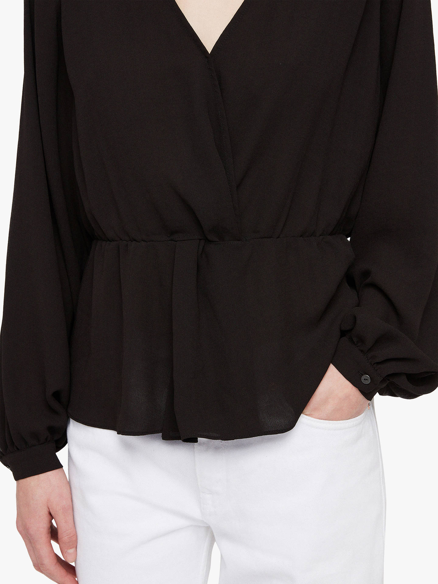 BuyAllSaints Lasia Peplum V-Neck Top, Black, XS Online at johnlewis.com