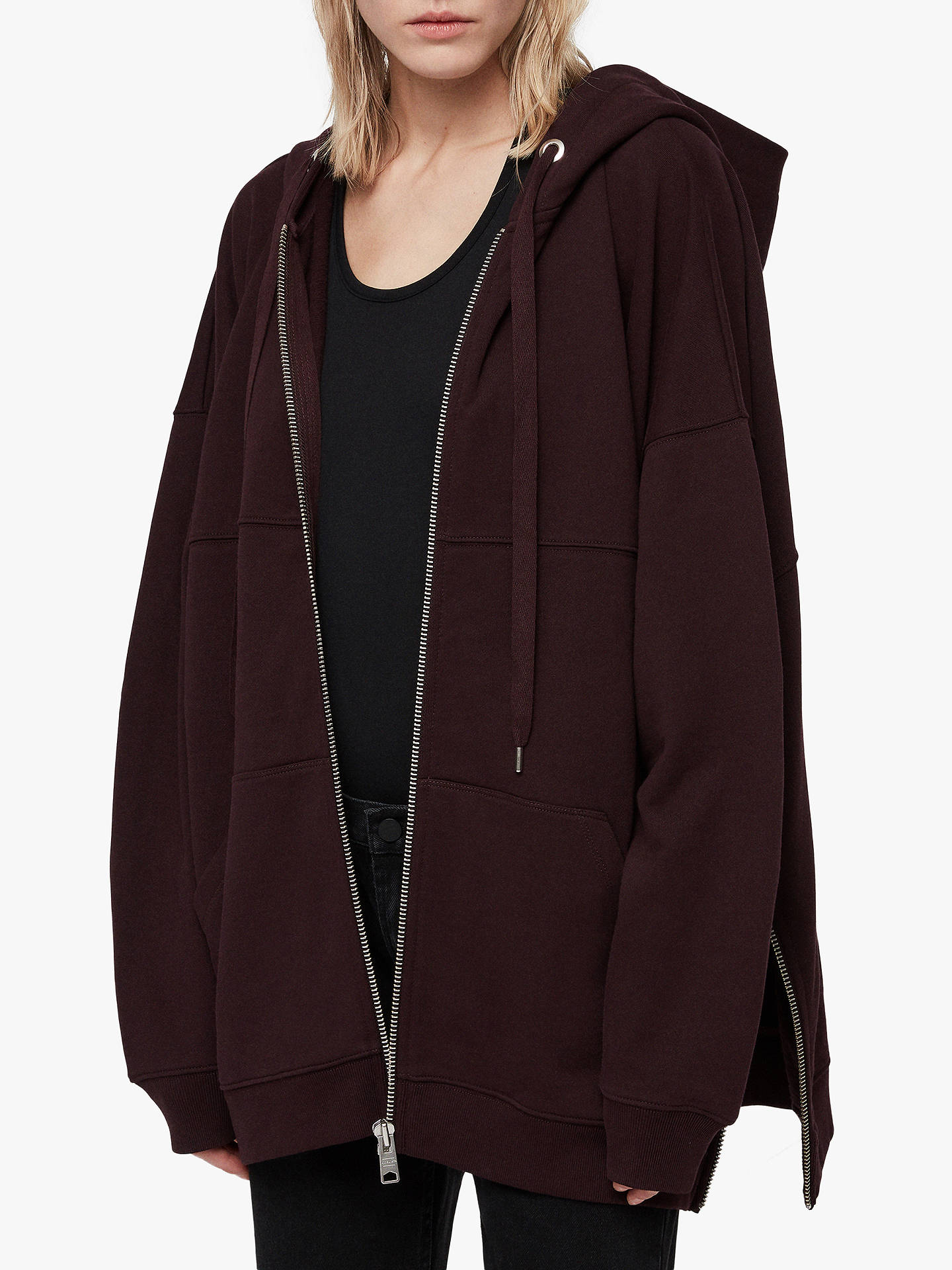 BuyAllSaints Bella Oversized Zip Up Hoodie, Dark Burgundy Red, M/L Online at johnlewis.com