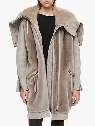 AllSaints State Luxe Parka, Grey/Natural