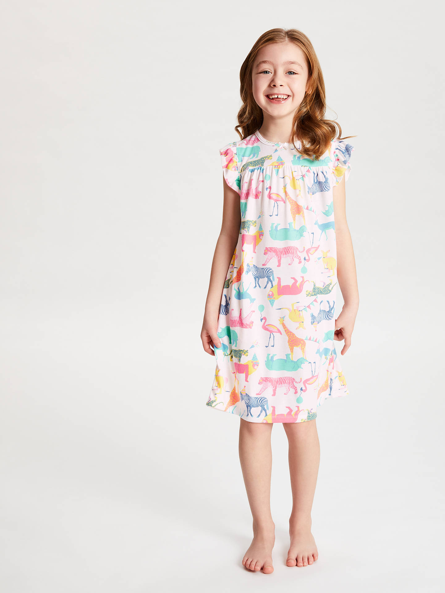 7f712b186b Buy John Lewis & Partners Girls' Party Animals Print Night Dress, Multi, 2  ...