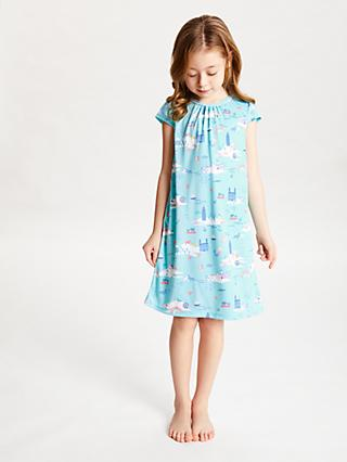 John Lewis & Partners Girls' Rainbow Summer Print Night Dress, Blue