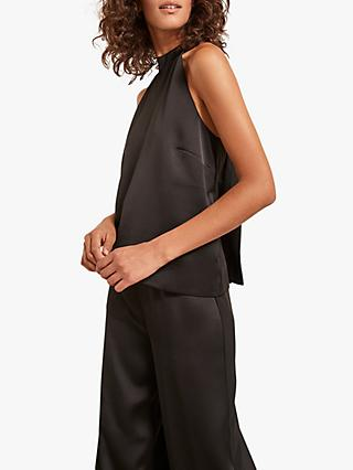 Mint Velvet Halterneck Satin Jumpsuit, Black