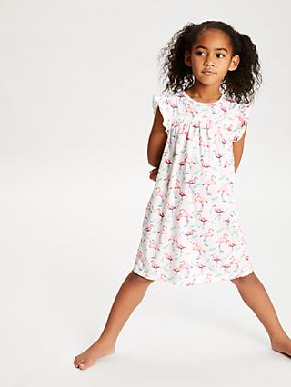 John Lewis & Partners Girls' Flamingo Print Night Dress, Cream