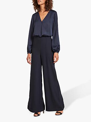 Mint Velvet Satin Wide Leg Jumpsuit, Dark Blue