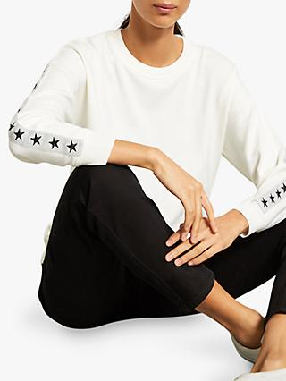 Mint Velvet Star Sleeve Knit Sweat, Ivory