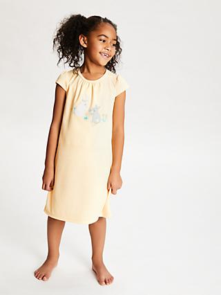 John Lewis & Partners Girls' Bunny Placement Print Night Dress, Yellow