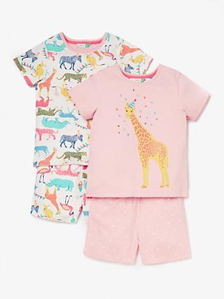 John Lewis & Partners Girls' Party Animal Short Pyjamas, Pack of 2, Multi