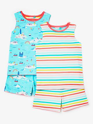 John Lewis & Partners Girls' Summer Print Short Pyjamas, Pack of 2, Blue/Multi