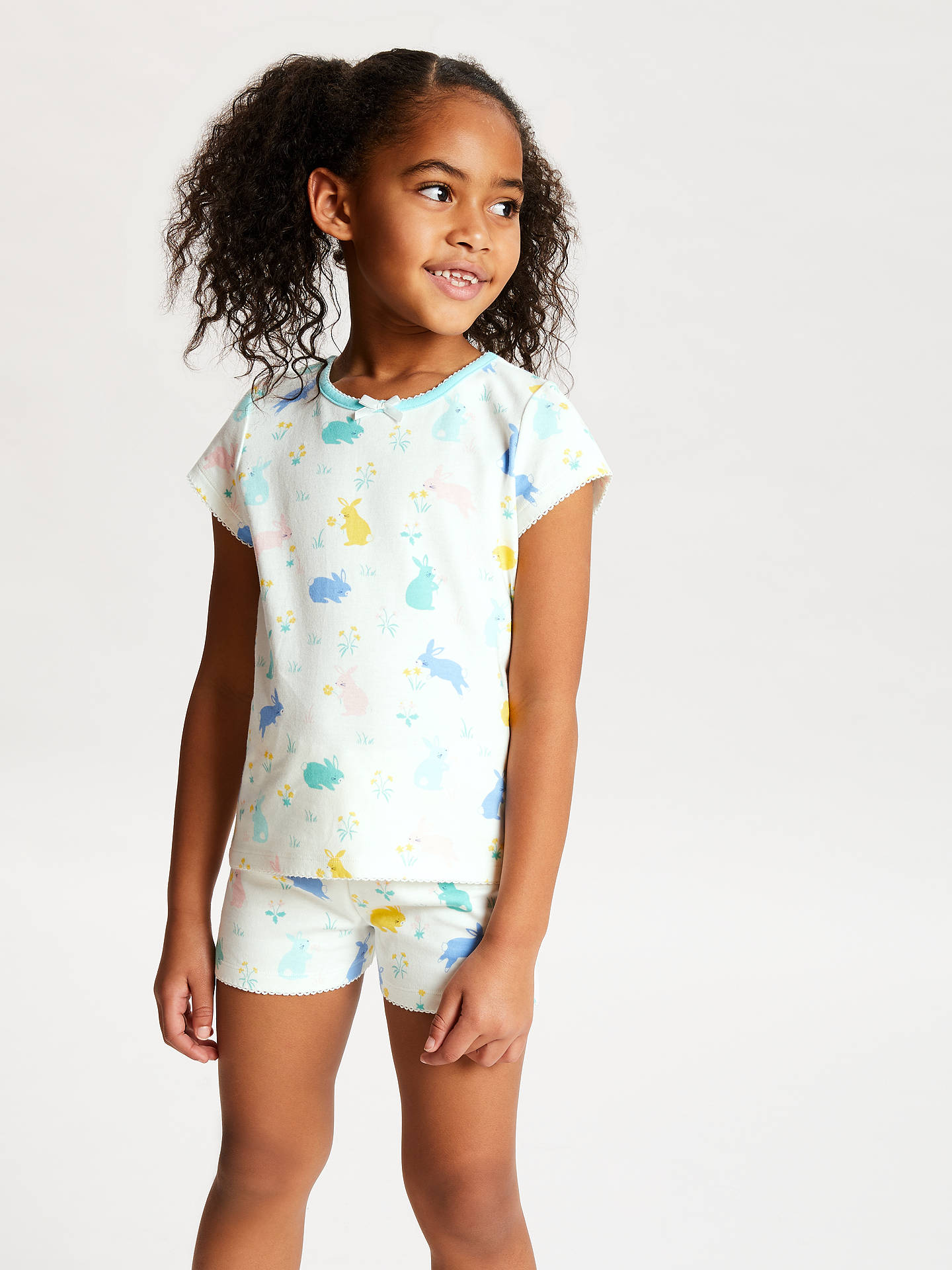 Buy John Lewis & Partners Bunny Print Short Pyjamas, Pack of 2, Blue/White, 8 years Online at johnlewis.com