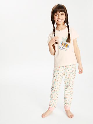 John Lewis & Partners Girls' Bee Print Pyjamas, Cream