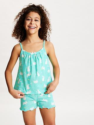 John Lewis & Partners Girls' Bunny Print Swing Pyjamas, Aqua