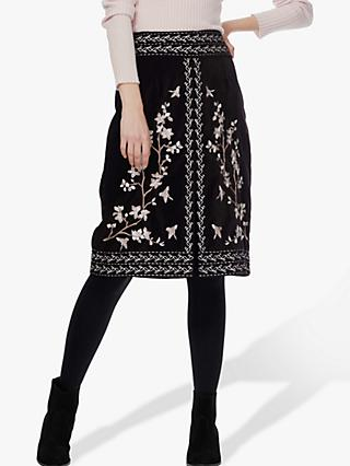 Brora Embroidered Velvet Skirt, Black