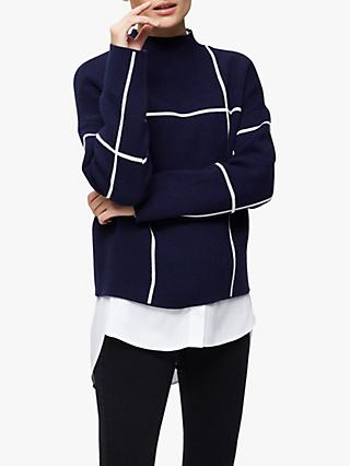 Selected Femme Tess Fine Check Print Jumper, Blue Depths