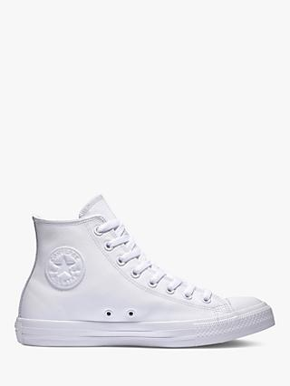 Converse All Star Leather Hi-Top Trainers, White Monochrome