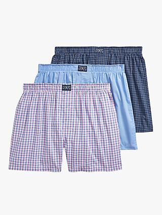Ralph Lauren Gingham Woven Cotton Boxers, Pack of 3, Blue