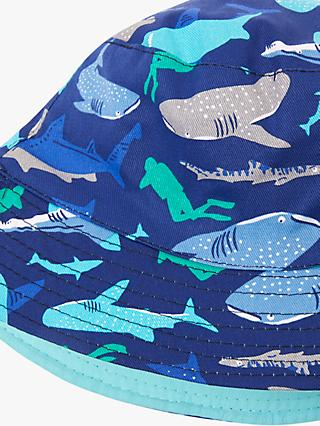 John Lewis & Partners Children's Shark Print Bucket Hat, Blue