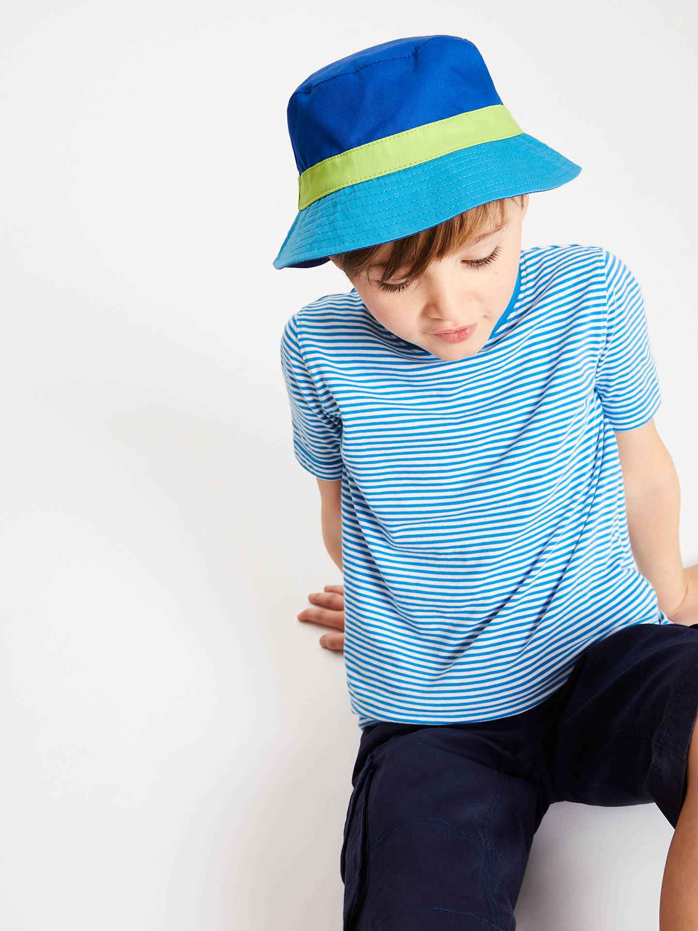 Buy john lewis s colour block bucket hat blue 6 8