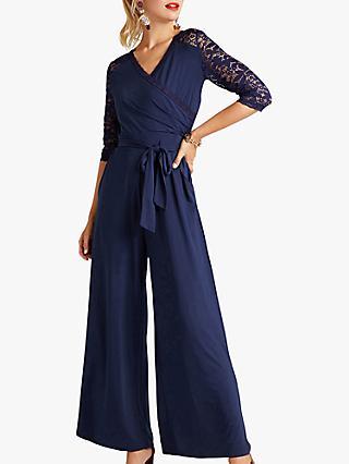 e5855650bc7 Yumi Floral Lace Wrap Jumpsuit
