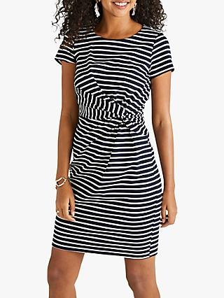 Yumi Ruched Striped Jersey Dress, Navy