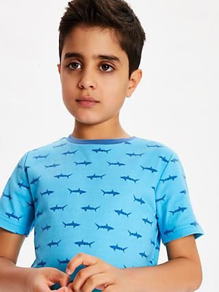 John Lewis & Partners Boys' Shark Shortie Pyjamas, Pack of 2, Blue