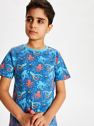 John Lewis & Partners Boys' Octopus Shortie Pyjamas, Pack of 2, Blue