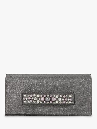 Dune Bobart Pearl Embellished Clutch Bag Pewter