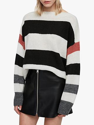 59c9d0abc AllSaints Suwa Stripe Cropped Jumper