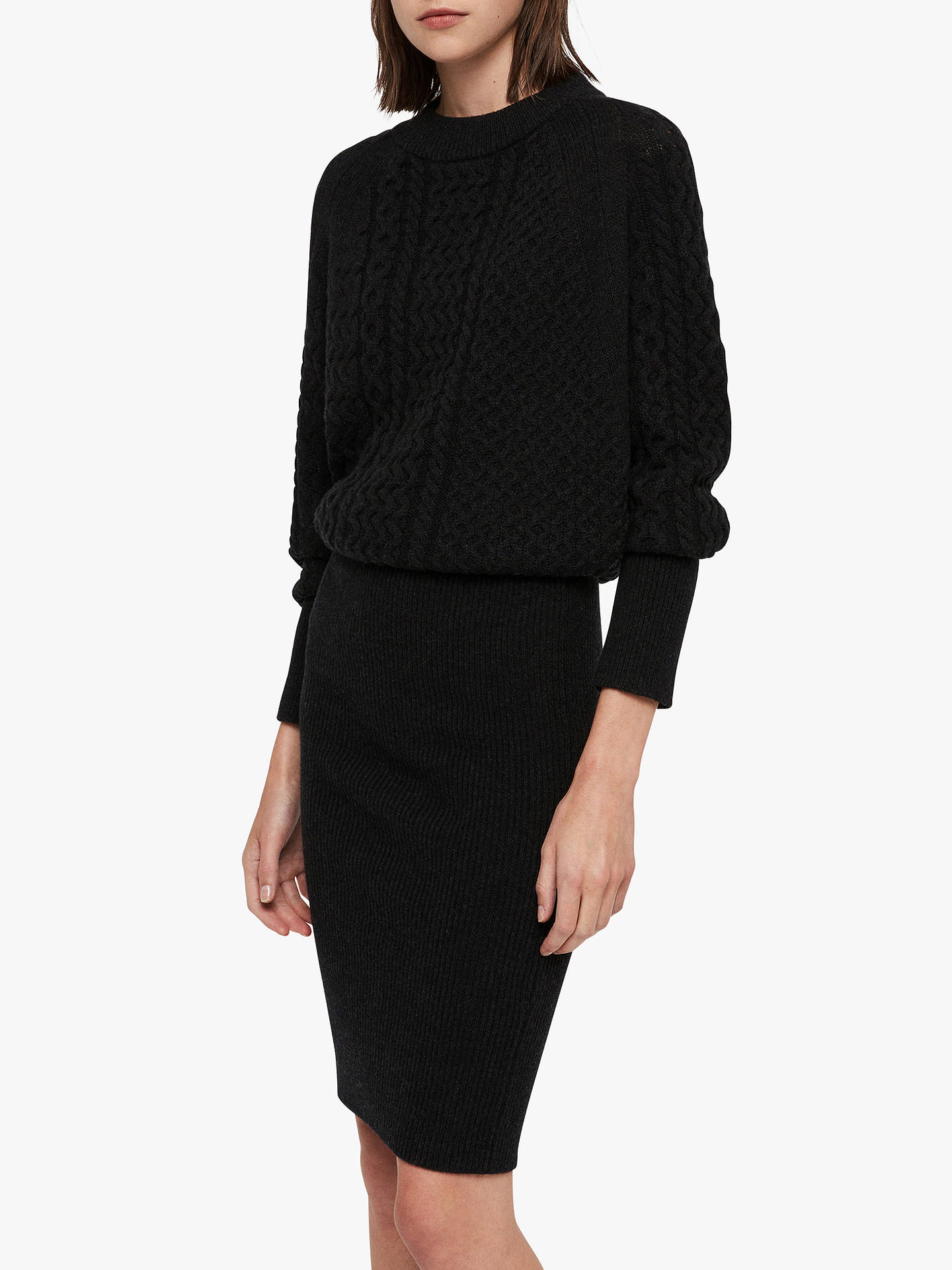 BuyAllSaints Dilone Knitted Dress, Cinder Black Marl, XS Online at johnlewis.com