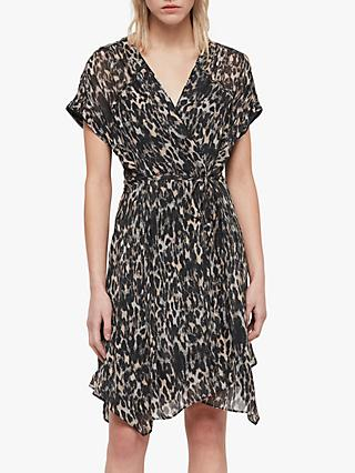 AllSaints Claria Leopard Print Dress, Grey/Multi