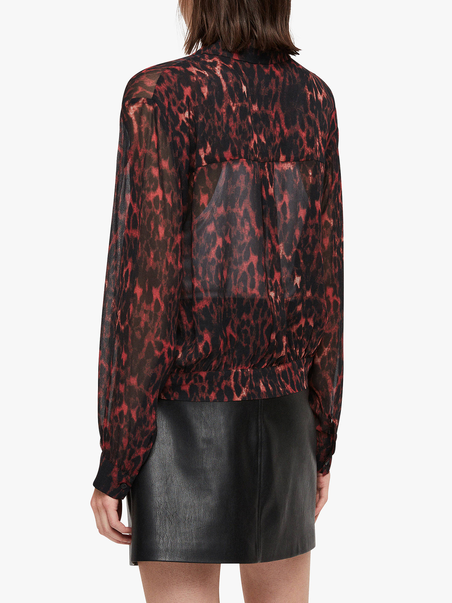 BuyAllSaints Adeliza Leopard Print Shirt, Red, L Online at johnlewis.com