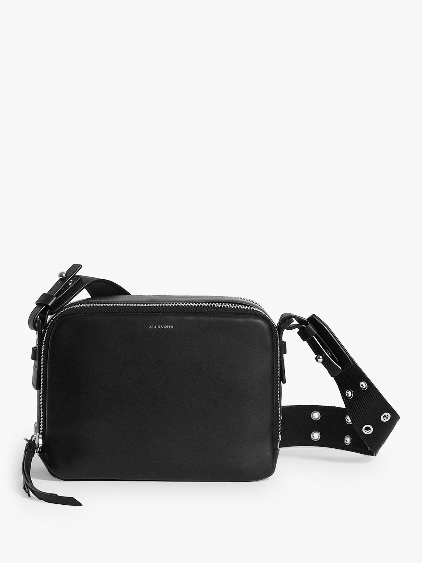 Allsaints Sid Leather Cross Body Bag Black Online At Johnlewis