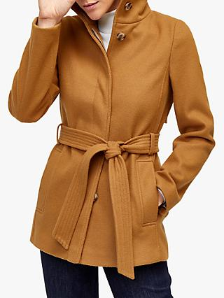 Warehouse Short Funnel Coat, Camel