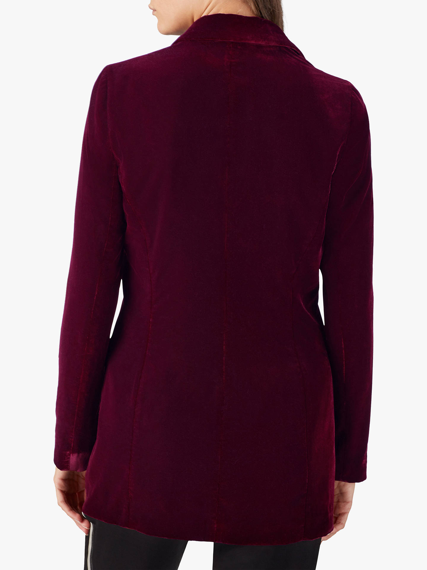 Buy Pure Collection Velvet Blazer, Dark Berry, 18 Online at johnlewis.com