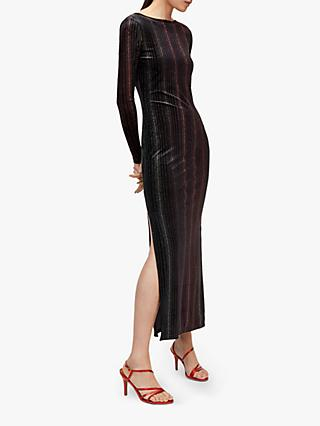 Warehouse Ombre Stripe Velvet Midi Dress, Black Stripe