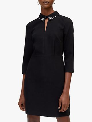 Warehouse Diamante Collar Dress, Black