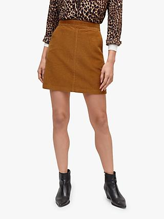 Warehouse Cord A-Line Skirt, Tan