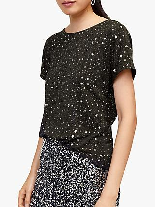 Warehouse All-Over Star Print Top, Black