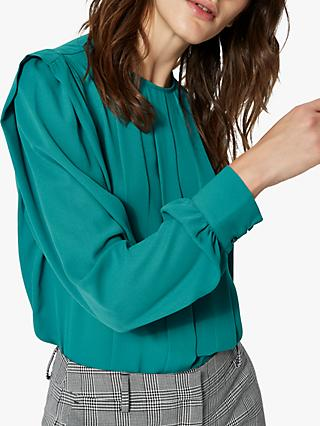 Selected Femme Chanelle Long Sleeve Blouse, Teal Green