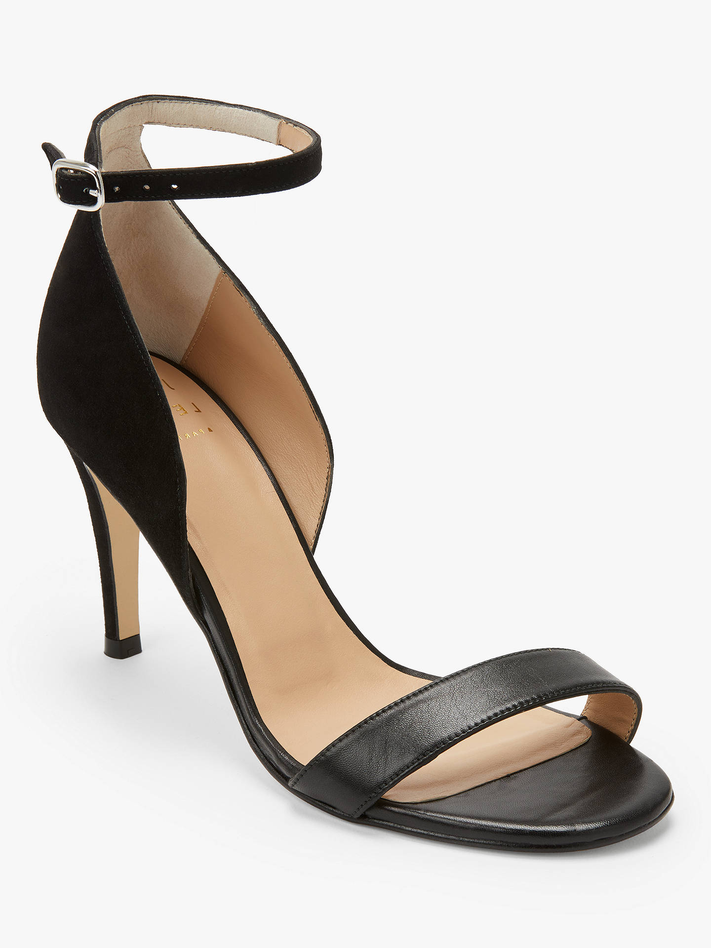 Buy John Lewis & Partners Bianca Stiletto Heel Sandals, Black Suede, 6 Online at johnlewis.com