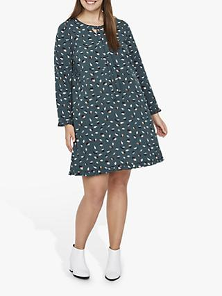 JUNAROSE Curve Blurred Spot Print Dress, Forest Green