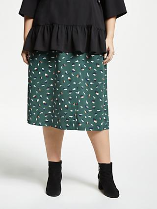 b2126c0b7c JUNAROSE Curve Abstract Blur Print Skirt, Forest Green
