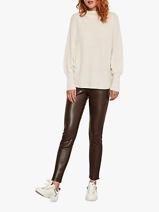Mint Velvet Leather-Look Leggings, Chocolate