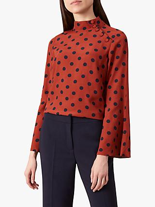 Hobbs Phillipa Polka Dot Blouse, Rust Navy