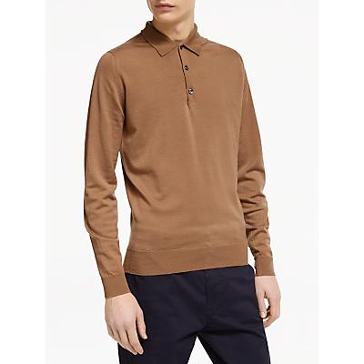 John Smedley Belper Long Sleeve Wool Polo Shirt, Brown