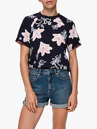 Selected Femme Rinna Floral Print Top, Night Sky
