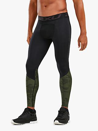 2XU Accelerate Compression Tights, Black/Khaki