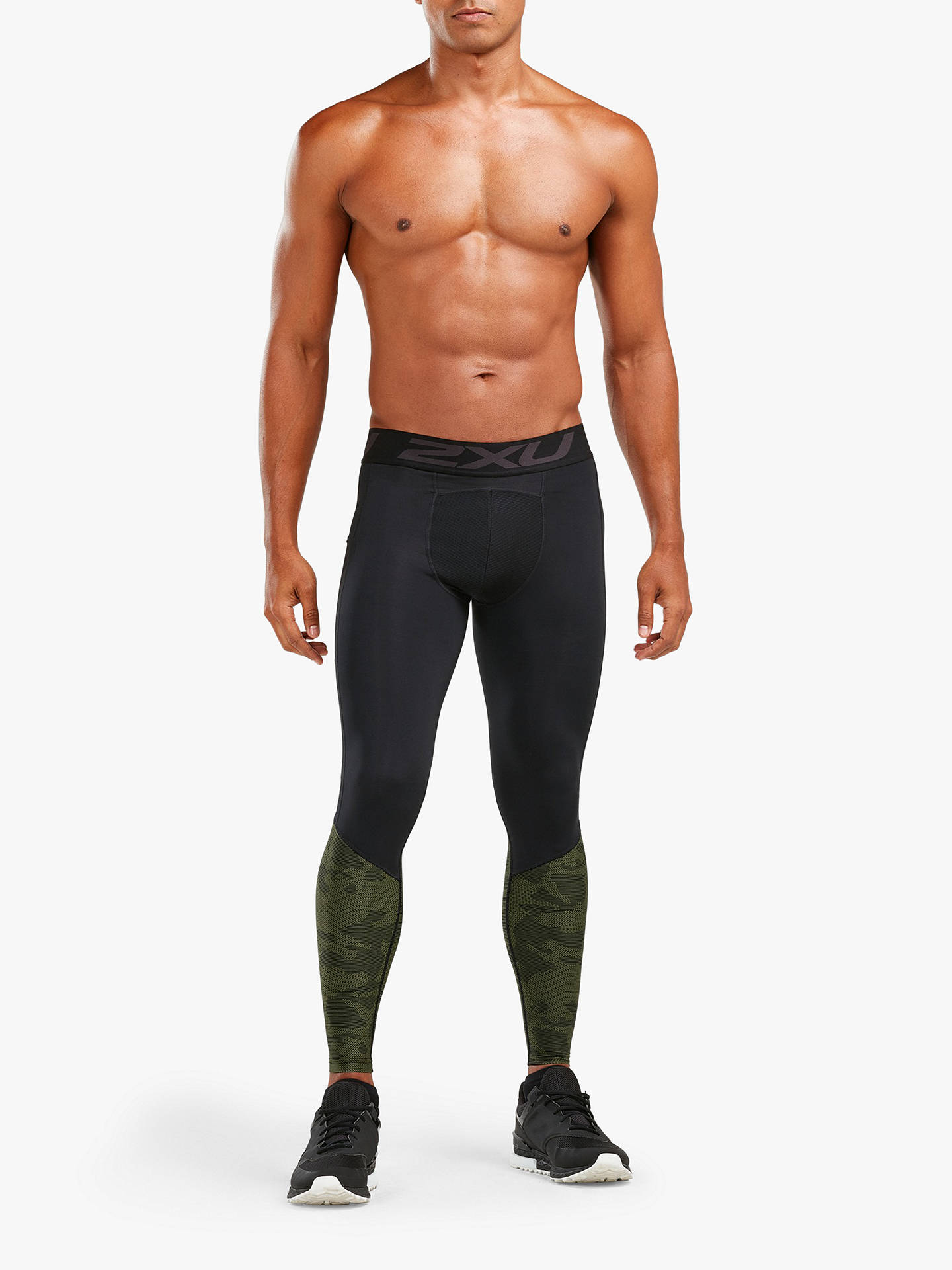 e050a42fb3 Buy 2XU Thermal Accelerate Compression Tights, Black/Khaki, S Online at  johnlewis.