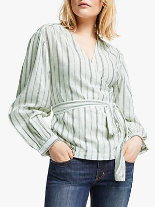 AND/OR Reece Wrap Stripe Top, White Mix