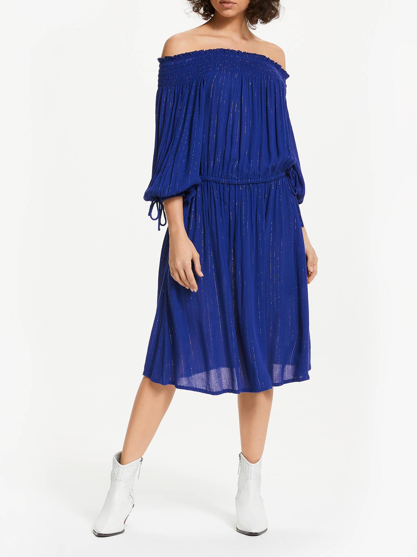 498115b239 BuyAND OR Monique Off Shoulder Glitter Stripe Midi Dress