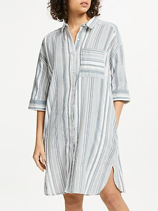 AND/OR Miller Stripe Cotton Shirt Dress, White Mix